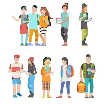 Estudiante casual urbano joven pareja plana web infografía concepto conjunto de iconos