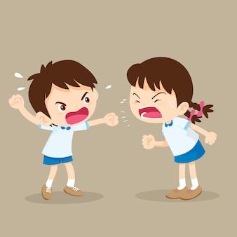 Estudiante chico y chica están peleando