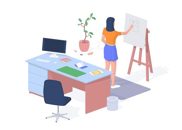 Estudiante en desarrollo de proyecto arquitectónico. escritorio con computadora y cálculos. la mujer dibuja una figura geométrica junto a la pizarra. elearning y desarrollo de habilidades. isometría realista vector