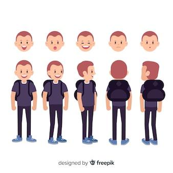 Estudiante dibujos animados para diseño en movimiento