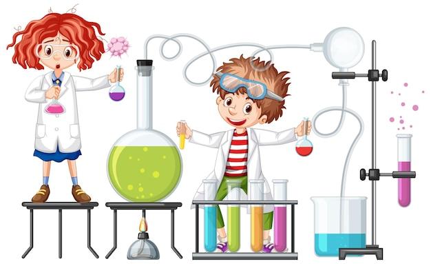 Estudiante con elementos de experimento de química.