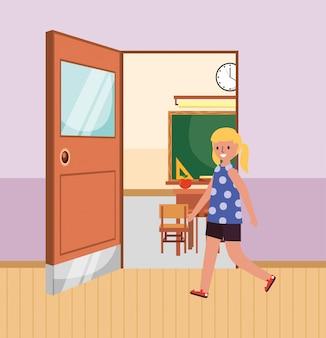 Estudiante entrando al aula