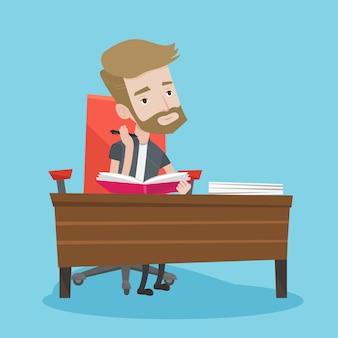 Estudiante escribiendo en el escritorio.