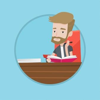 Estudiante escribiendo en la ilustración de vector de cuaderno.