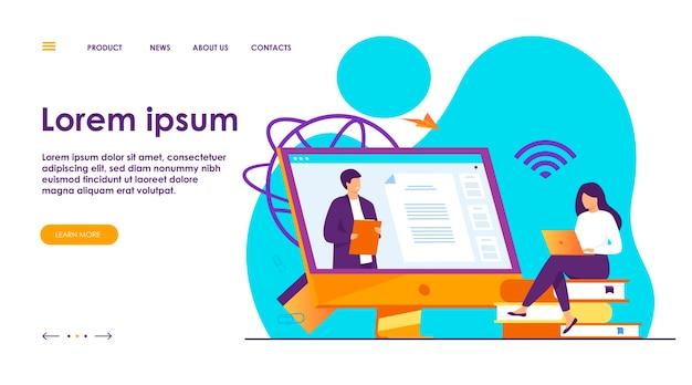 Estudiante escuchando webinar ilustración plana en línea.