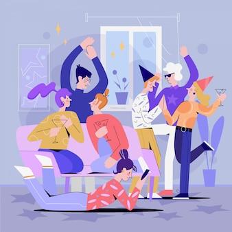 Estudiante feliz fiesta en casa ilustración vectorial