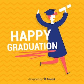 Estudiante feliz graduándose con diseño plano