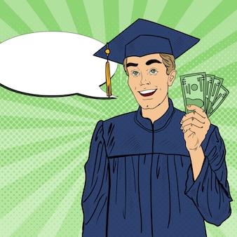 Estudiante graduado feliz de arte pop con dinero