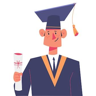 Estudiante graduado lindo en tapa con personaje de dibujos animados de diploma aislado