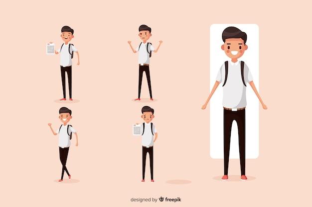 Estudiante haciendo diferentes acciones
