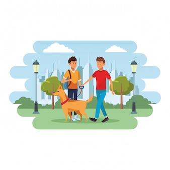 Estudiante y hombre con perro