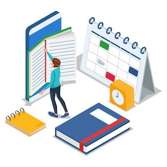 Estudiante leyendo en el teléfono móvil. hombre con libros, reloj, calendario. educación isométrica a la ilustración de la escuela. vector