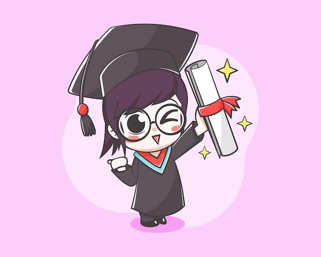 Estudiante lindo en la ilustración de dibujos animados del día de graduación