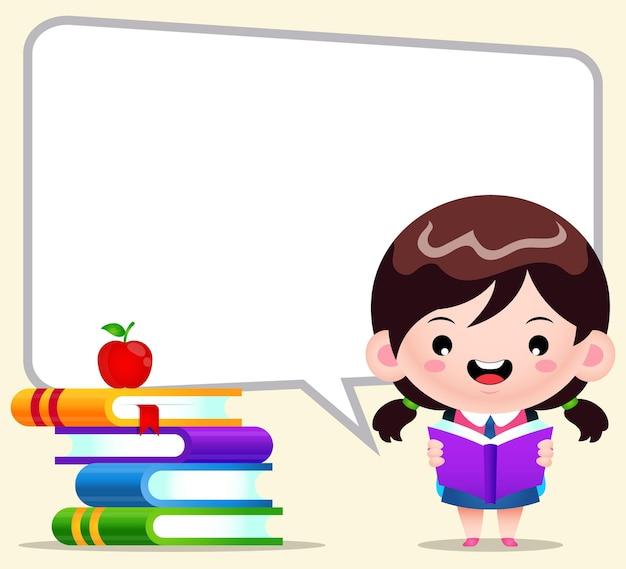 Estudiante de niña linda de dibujos animados leyendo con discurso de burbuja grande