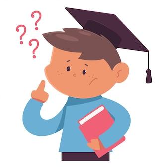 Estudiante de pensamiento en la ilustración de dibujos animados de gorra de graduación aislado en un fondo blanco.