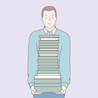 Estudiante con pila de libros