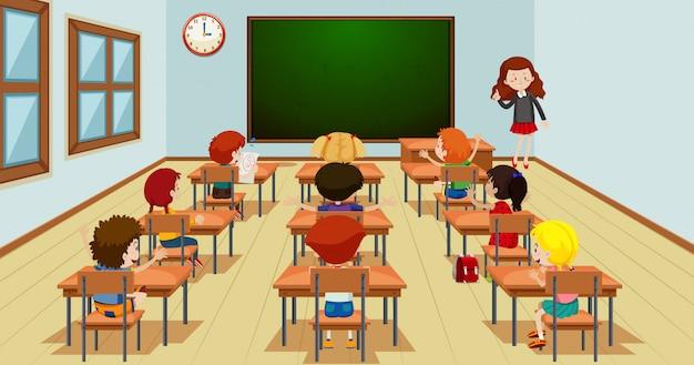 Estudiante en plantilla de aula