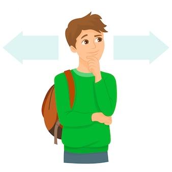 Estudiante que enfrenta un dilema, elija esto o aquello
