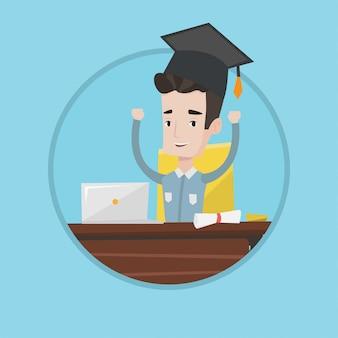 Estudiante que usa la computadora portátil para la educación.
