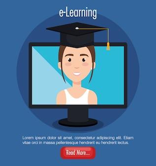 Estudiante que usa la computadora educación electrónica de escritorio