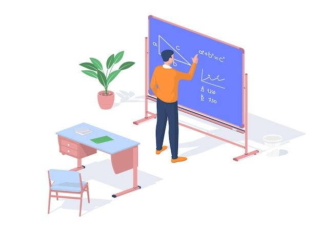 El estudiante resuelve el objetivo de matemáticas cerca de la pizarra. formación moderna con posibilidad de consultas online. pupitre con libros y cuadernos. autoestudio de enfoque creativo. isometría realista vector
