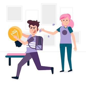 Estudiante robando ideas concepto de plagio