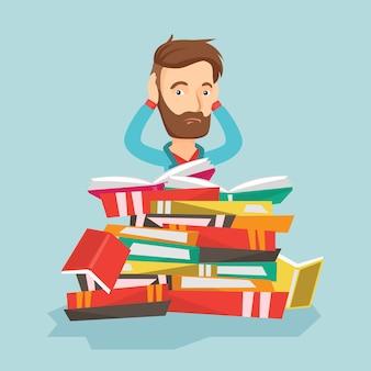 Estudiante sentado en una enorme pila de libros.