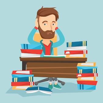 Estudiante sentado en la mesa con montones de libros.