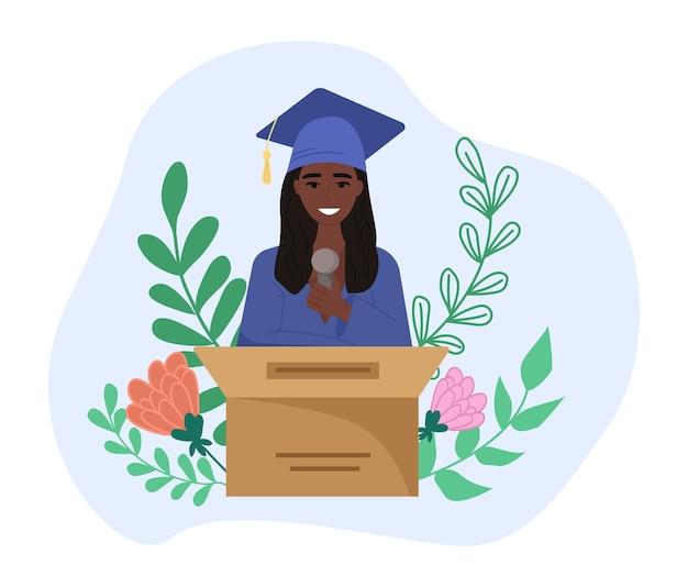 Estudiante sonriente feliz dando discurso de graduación, de pie en el escenario en el podio. ilustración plana de dibujos animados lindo vector