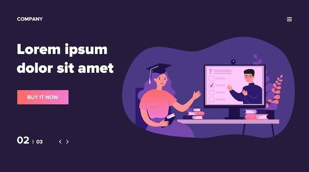 Estudiante universitario que ve un seminario web en línea, pasa un examen, usa la computadora, asiste a clases. ilustración para aprendizaje a distancia, educación en el hogar, educación en tiempo de bloqueo, concepto de videoconferencia