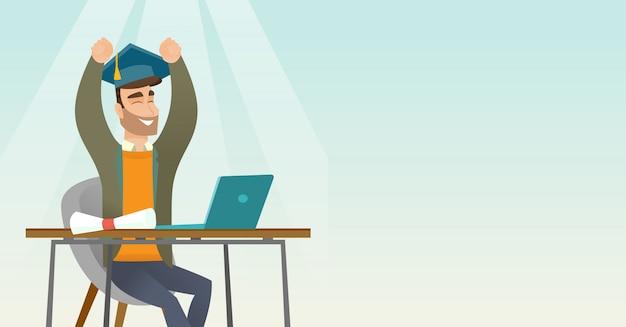 Estudiante usando laptop para la educación.