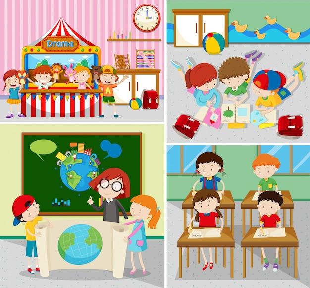 Estudiantes aprendiendo y jugando en las aulas