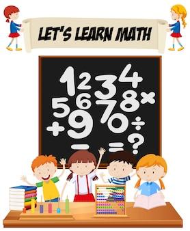 Estudiantes, aprendizaje, matemáticas, sala de clase, ilustración