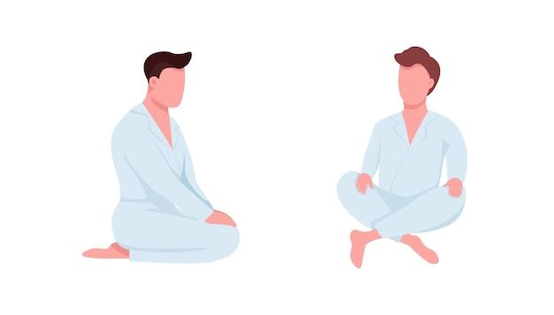 Estudiantes de artes marciales juego de caracteres sin rostro de color plano. el atleta se sienta en túnicas blancas. ilustración de dibujos animados aislados de clase de karate para diseño gráfico web y colección de animación