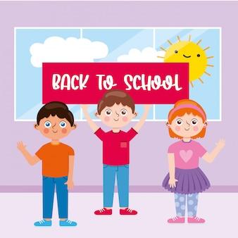 Estudiantes en el aula con anuncio de regreso a la escuela y sol y nubes asomándose por la ventana. personajes de caricatura. ilustración