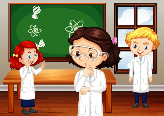 Estudiantes en bata de ciencias de pie en el aula