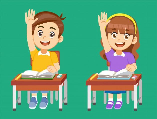 Los estudiantes compiten por las respuestas en el aula.