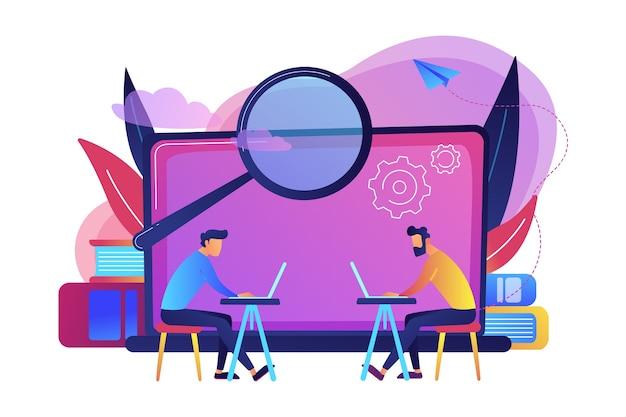 Los estudiantes con computadoras portátiles están buscando información en la ilustración de la clase de computación
