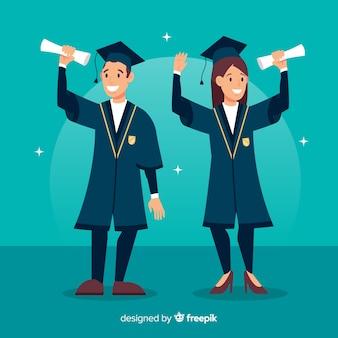 Estudiantes con sombreros de graduación al aire
