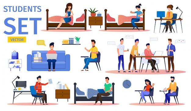 Estudiantes en conjunto de caracteres de vector plano dormitorio