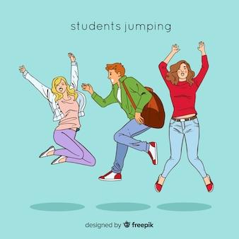 Estudiantes dibujados a mano saltando