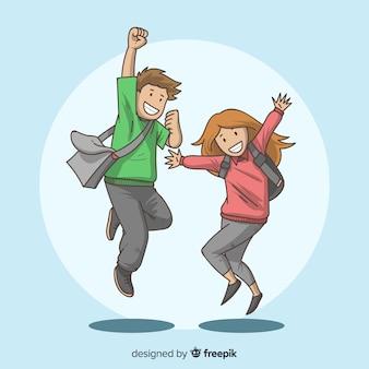 Estudiantes dibujados a mano saltando felices