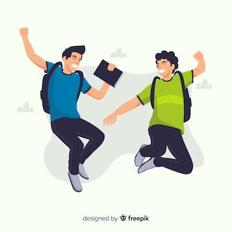Estudiantes de diseño plano saltando felices