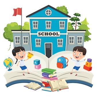 Estudiantes divertidos y edificio escolar