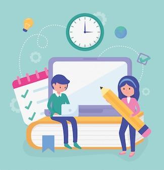 Estudiantes de educación escolar en línea