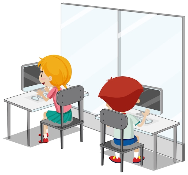 Estudiantes con elementos de aula de informática sobre fondo blanco.