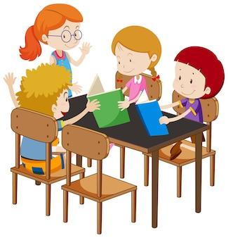 Estudiantes con elementos de aula sobre fondo blanco.