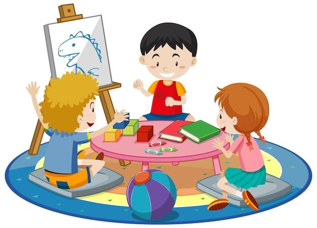 Estudiantes con elementos de sala de jardín de infantes en blanco