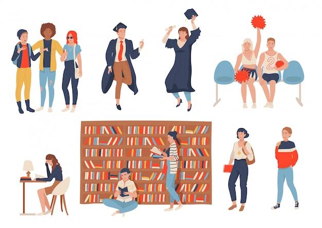 Estudiantes en la escuela, colegio o universidad, conjunto de personajes de dibujos animados, ilustración
