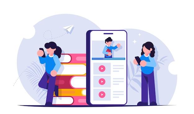 Los estudiantes estudian el plan de estudios de forma remota explorando seminarios web en la pantalla de un teléfono móvil